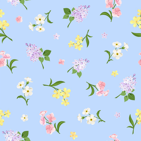 Vector seamless pattern with pink, yellow, white and purple flowers on a blue background. Illustration