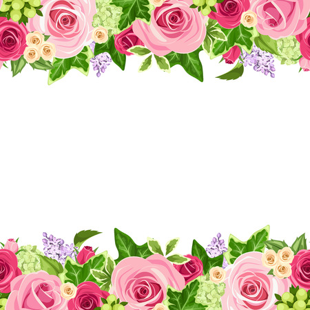 marcos decorativos: Vector horizontal de fondo sin fisuras con las rosas rojas y rosadas y hojas verdes. Vectores