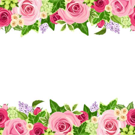 horizontální: Vektor horizontální bezešvé pozadí s červeným a růžových růží a zelené listy. Ilustrace