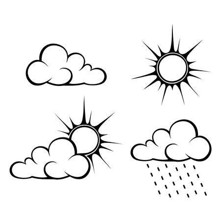 clima: Vector contornos negros de símbolos de tiempo: nubes, sol y lluvia.
