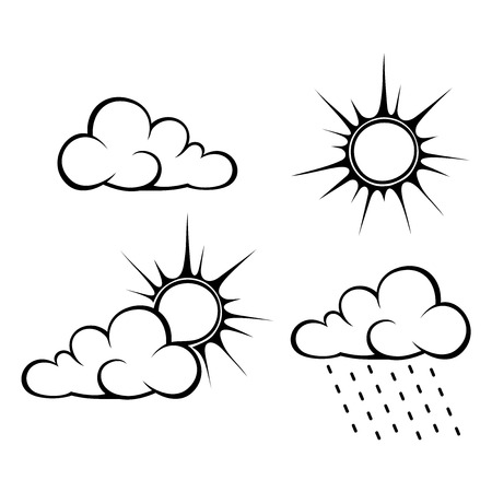 Vector black contours of weather symbols: clouds, sun and rain.