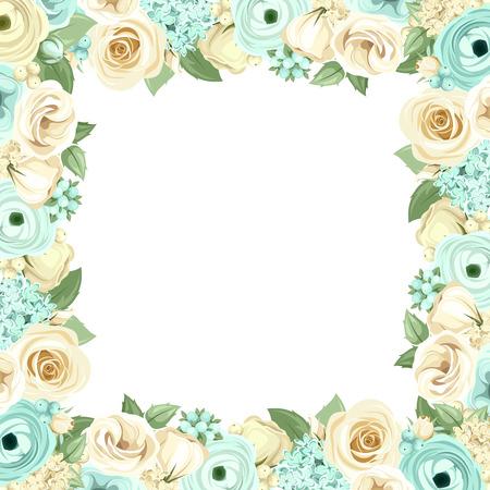 menta: Marco del vector con las rosas azules y blancas, lisianthuses, ranúnculos, flores lilas y hojas verdes.