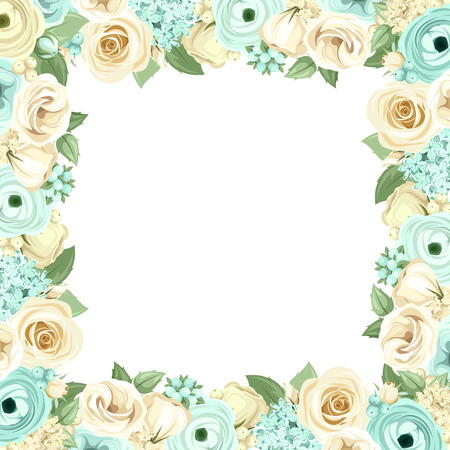 Vector frame with blue and white roses, lisianthuses, ranunculus, lilac flowers and green leaves.