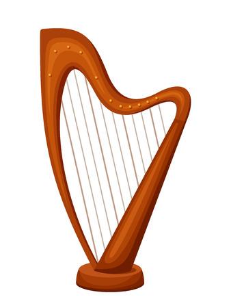 the harp: Vector de madera arpa aislado en un fondo blanco.