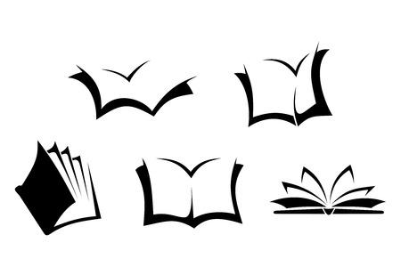 白の背景に黒のシルエット本を 5 冊