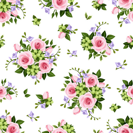 rosebud: seamless pattern with pink roses and purple freesia flowers