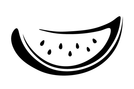 watermelon slice: black silhouette of watermelon slice isolated on a white background. Illustration