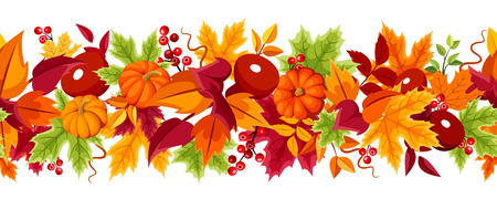 fallen fruit: Horizontal seamless background with orange pumpkins and colorful autumn leaves on a white background.