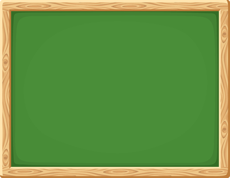 wood board: Vector green chalkboard with wooden frame.