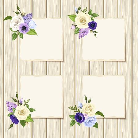 rosas blancas: Tarjetas del vector con las rosas azules, púrpuras y blancos con plano plantilla de papel blanco