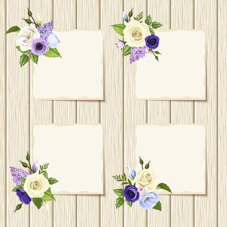 ivory: Vector cards with blue, purple and white roses with plane white paper template