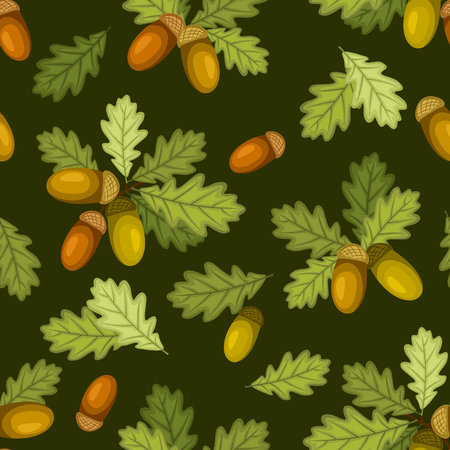 fallen fruit: Vector seamless pattern with acorns and green oak leaves on a dark green background.