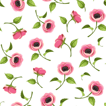 anemone: Vector seamless pattern with pink anemone flowers on a white background.