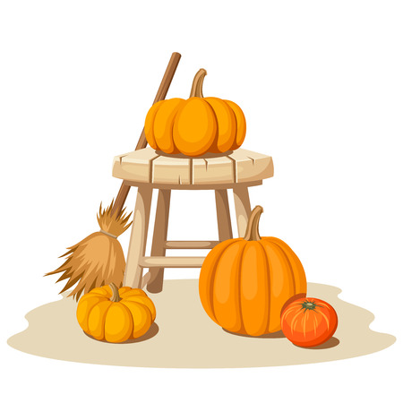 wooden stool: Vector still life with pumpkins, a wooden stool and a broom.