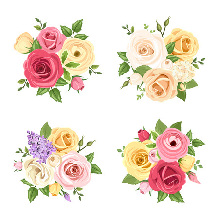 Set of four vector bouquets of red, pink, white, yellow and purple roses, lisianthuses, ranunculus and lilac flowers.