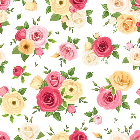 flowers bouquet: Vector seamless pattern with red, pink, orange and white roses, lisianthuses and ranunculus flowers and green leaves on a white background.