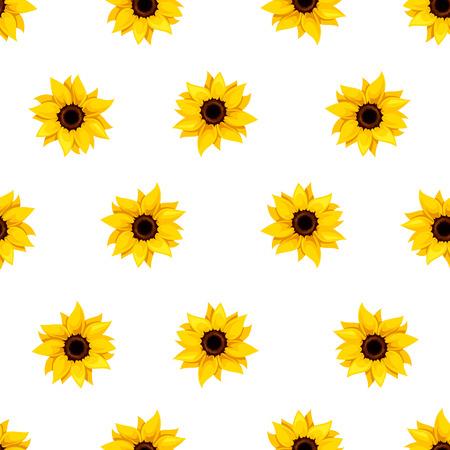 白地に黄色のヒマワリとシームレスなパターンをベクトル。
