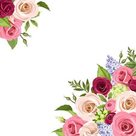 ピンク、白、紫色のバラ、lisianthuses、ライラック色の花、白い背景の上の緑の葉とのベクトルの背景。