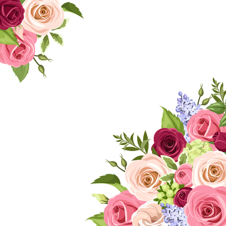Vector background with pink, white and purple roses, lisianthuses and lilac flowers and green leaves on a white background. Ilustracja