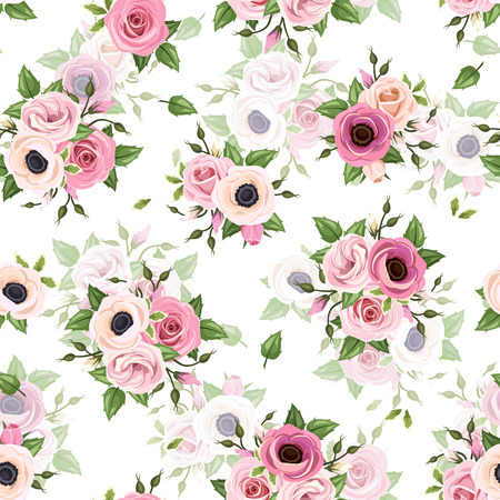 green flowers: Vector seamless pattern with pink roses, lisianthus and anemone flowers and green leaves on a white background.