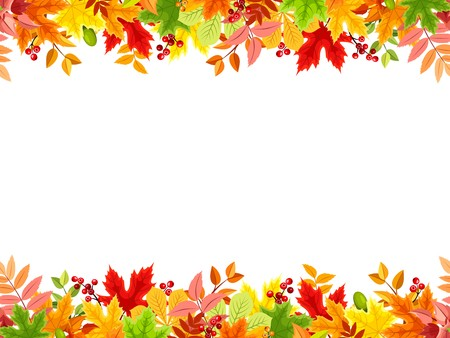 autumn leaves falling: Vector horizontal seamless frame with colorful autumn leaves on a white background.