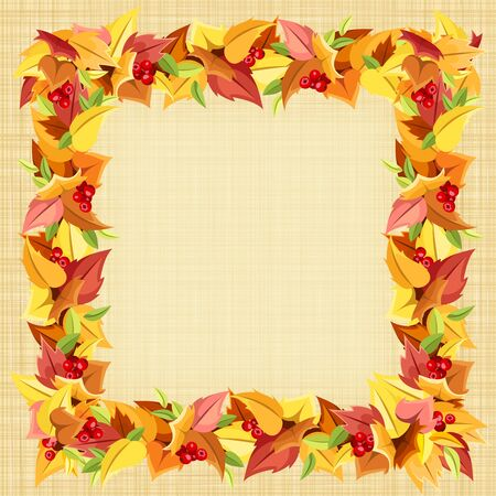 sacking: Vector frame with autumn colorful leaves and berries on a beige sacking background.