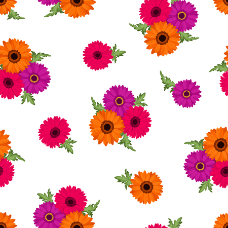 orange gerbera: Vector seamless pattern with pink, orange and purple gerbera flowers on a white background.