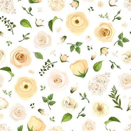 rosas naranjas: Vector sin patrón, con rosas blancas, lisianthuses, ranúnculos y lilas flores y hojas verdes sobre un fondo blanco. Vectores