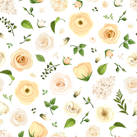 Vector seamless pattern with white roses, lisianthuses, ranunculus and lilac flowers and green leaves on a white background.