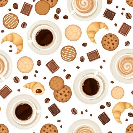 コーヒー カップ、豆、クッキー、クロワッサン、白地にチョコレートとシームレスなパターンをベクトル。
