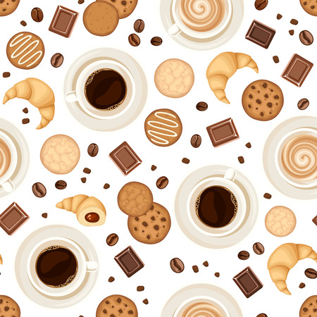 Vector seamless pattern with coffee cups, beans, cookies, croissants and chocolate on a white background.