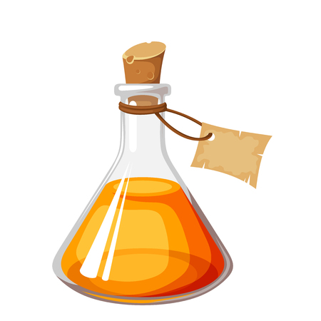laboratory label: Vector glass flask with orange liquid and label isolated on a white background. Illustration