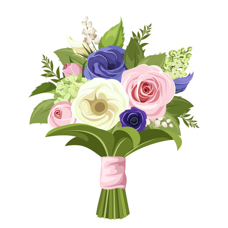 Vector bouquet of pink, white and blue roses, lisianthuses, lily of the valley and lilac flowers and green leaves.