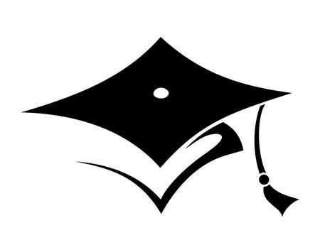 graduacion: Vector negro silueta de un casquillo de la graduación aislado en un fondo blanco.
