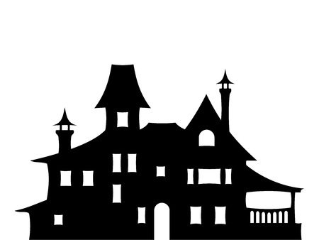 victorian house: Vector black silhouette of a big Victorian house isolated on a white background. Illustration
