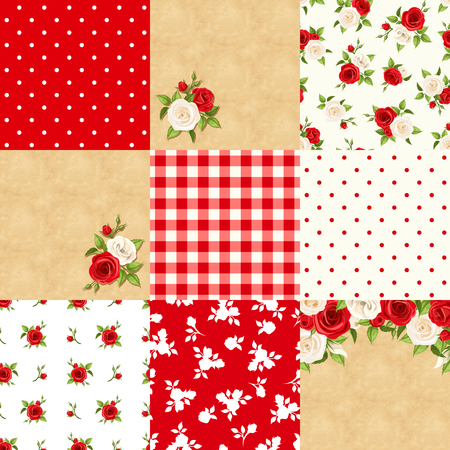 Vector set of nine seamless floral and geometric patterns and parchment cards with roses in red, beige and white colors.