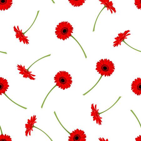 Vector pattern: Vector hoa văn liền mạch với hoa đồng tiền đỏ trên nền trắng.