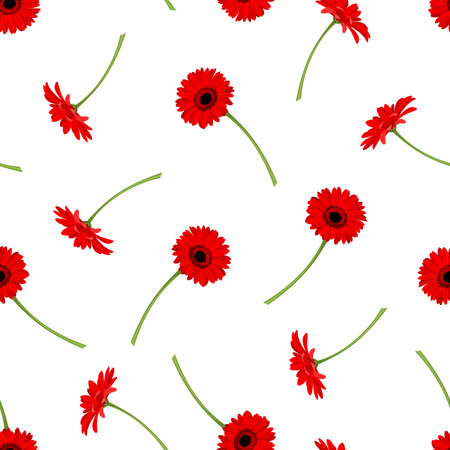 repeat pattern: Vector seamless pattern with red gerbera flowers on a white background.