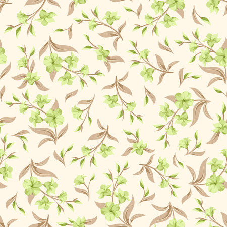 green leaves: Vector seamless pattern with green flowers and beige leaves.