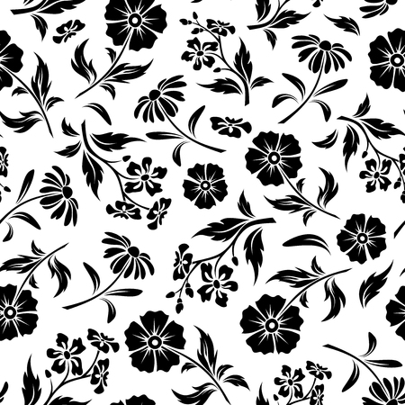 Vector seamless pattern with black flowers and leaves on a white background.