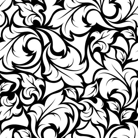Vector vintage seamless black and white floral pattern. Çizim