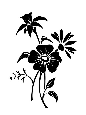 Vector black silhouette of three flowers.