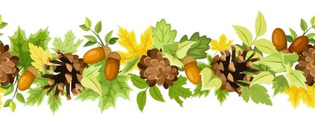 緑と黄色の秋のベクトル水平のシームレスな背景の葉、コーンと白地にドングリ。  イラスト・ベクター素材