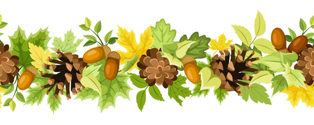 Vector horizontal seamless background with green and yellow autumn leaves, cones and acorns on a white background.