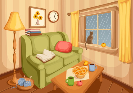 Vector illustration of cozy autumn living room with rain outside the window. Stock Illustratie