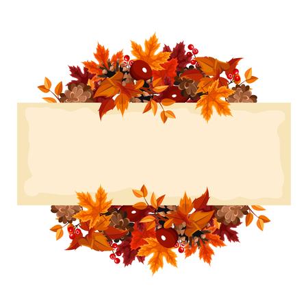 pinoli: Scheda di vettore con foglie d'autunno e frutti di bosco.