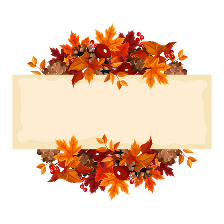 Vector card with autumn leaves and berries. Illustration