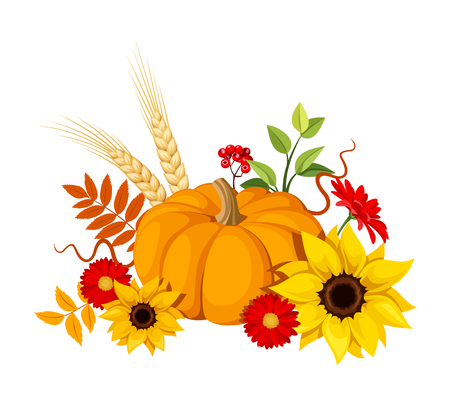 Vector illustration of a pumpkin, sunflowers, gerbera flowers and autumn leaves isolated on a white background.