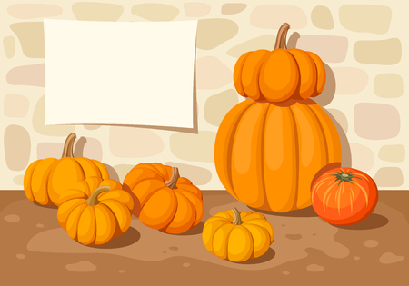 Vector background with orange pumpkins, a atone wall and a blank placard.
