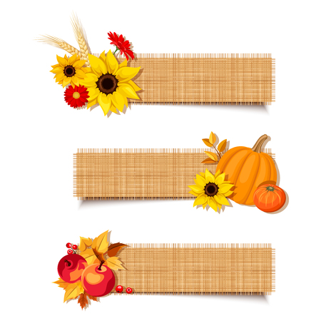 Set of three vector autumn banners with pumpkins, sunflowers, gerbera flowers, apples and leaves. Illustration